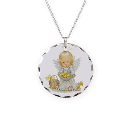 Easter Angel Necklace Circle Charm