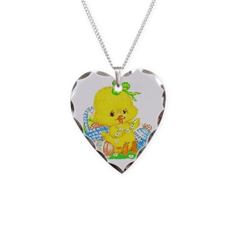 Easter Duckling Necklace Heart Charm