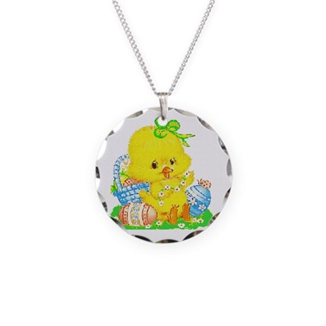 Easter Duckling Necklace Circle Charm
