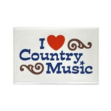 I Love Country Music Rectangle Magnet