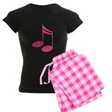 Cute Pink Music Notes Women's Plaid Pajamas