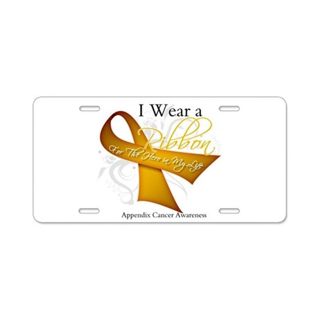 Ribbon Hero Appendix Cancer Aluminum License Plate
