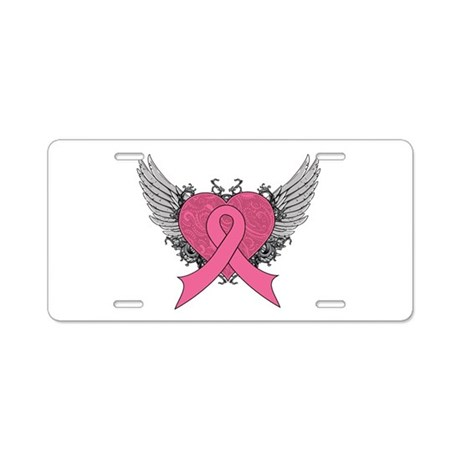 Grunge Heart Breast Cancer Aluminum License Plate