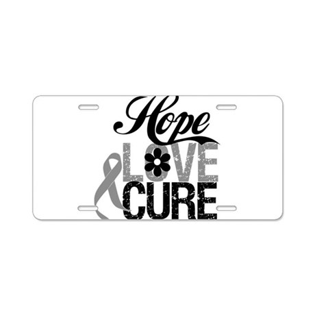 HopeLoveCure Brain Cancer Aluminum License Plate