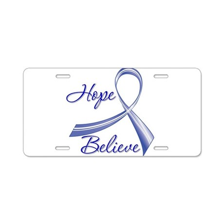 Hope Believe Colon Cancer Aluminum License Plate