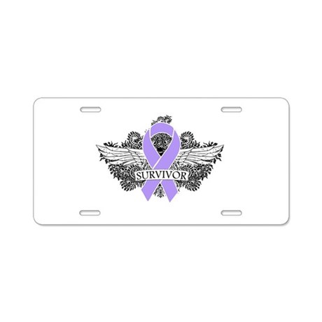 Cancer Survivor Grunge Wings Aluminum License Plat