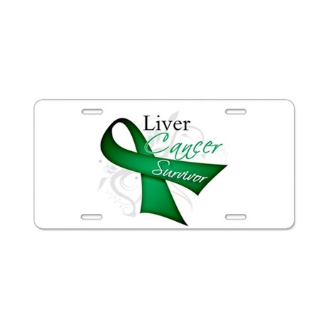 Survivor Ribbon Liver Cancer Aluminum License Plat
