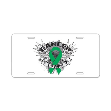 Survivor Wings Liver Cancer Aluminum License Plate
