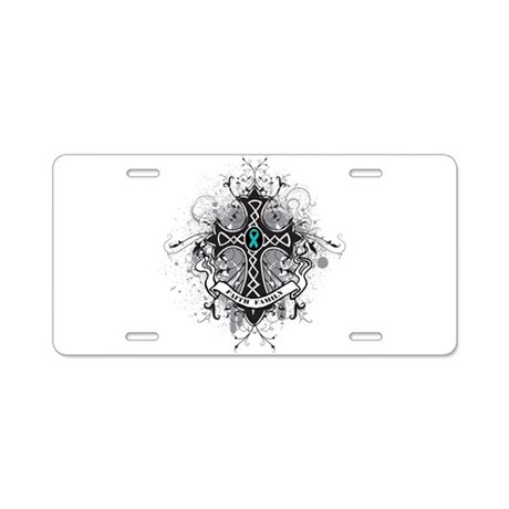 Faith Cross Ovarian Cancer Aluminum License Plate