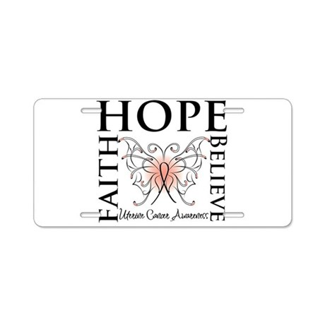 Hope Believe Uterine Cancer Aluminum License Plate