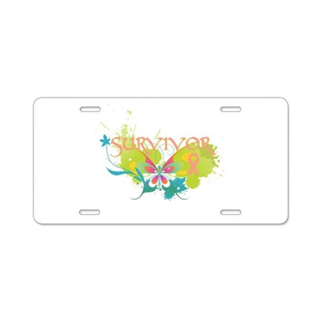 Butterfly Uterine Cancer Aluminum License Plate