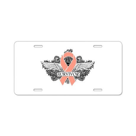 Uterine Cancer Survivor Aluminum License Plate
