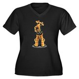 Airedale Welsh Terrier Women's Plus Size V-Neck Da