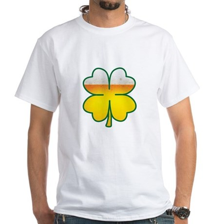 Beer Leaf Clover St. Patrick's Day White T-Shirt