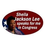 Sheila Jackson Lee oval bumper sticker