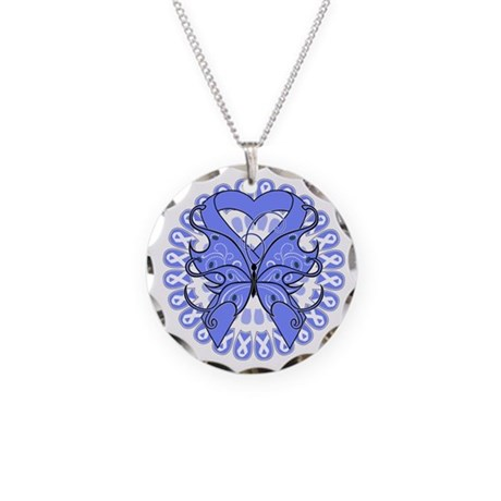 Periwinkle Butterfly Ribbon Necklace Circle Charm