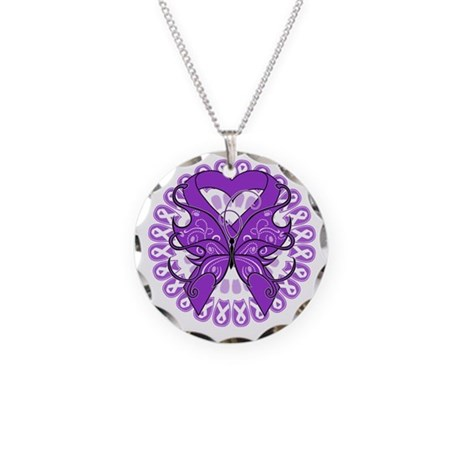 Purple Butterfly Ribbon Necklace Circle Charm
