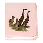 Chocolate Runner Duck Family baby blanket