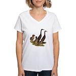 Chocolate Runner Duck Family Women's V-Neck T-Shir