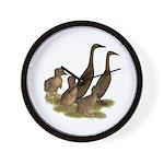 Chocolate Runner Duck Family Wall Clock