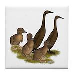 Chocolate Runner Duck Family Tile Coaster