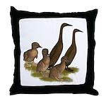 Chocolate Runner Duck Family Throw Pillow