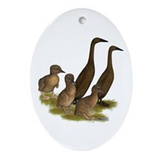 Chocolate Runner Duck Family Ornament (Oval)