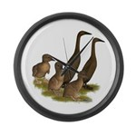 Chocolate Runner Duck Family Large Wall Clock