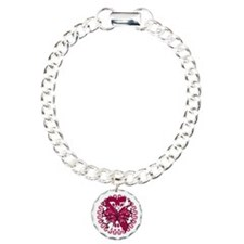 Burgundy White Butterfly Bracelet