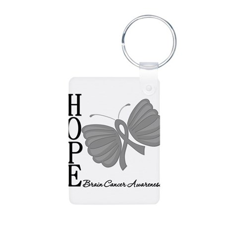 Hope Brain Cancer Aluminum Photo Keychain