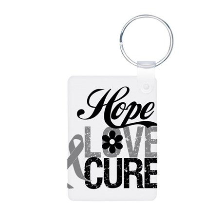 HopeLoveCure Brain Cancer Aluminum Photo Keychain