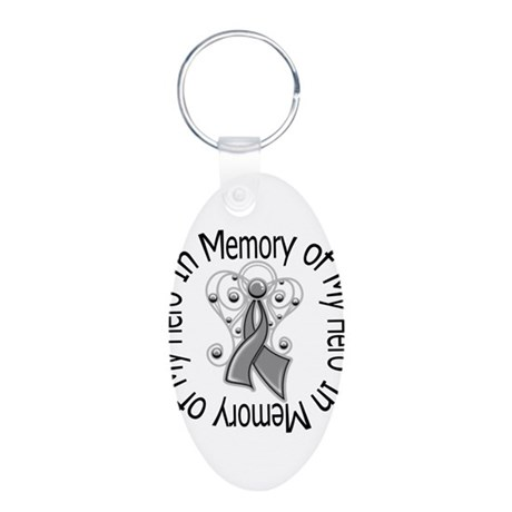 Brain Cancer In Memory Aluminum Oval Keychain