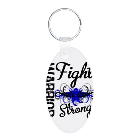 Warrior Colon Cancer Aluminum Oval Keychain