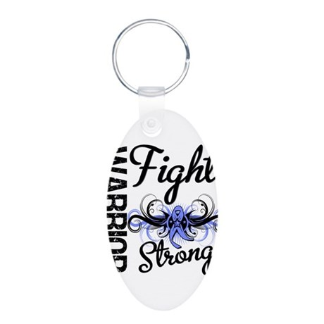 Warrior Esophageal Cancer Aluminum Oval Keychain