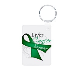 Survivor Ribbon Liver Cancer Aluminum Photo Keycha