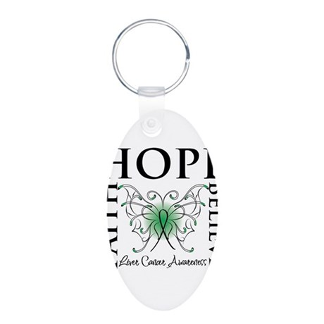 Faith Hope Liver Cancer Aluminum Oval Keychain