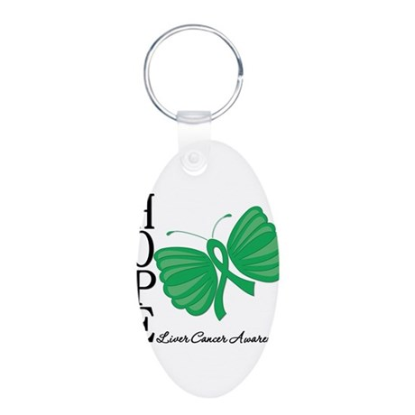Hope Butterfly Liver Cancer Aluminum Oval Keychain