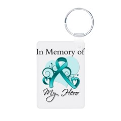 In Memory Hero Ovarian Cancer Aluminum Photo Keych