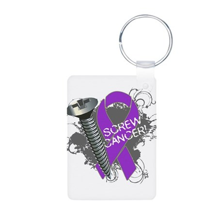 Screw Pancreatic Cancer Aluminum Photo Keychain
