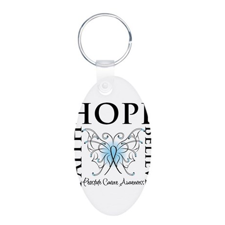 Hope Faith Prostate Cancer Aluminum Oval Keychain
