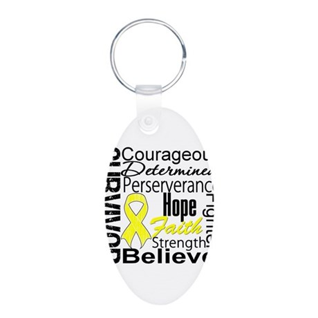 Sarcoma Survivor Collage Aluminum Oval Keychain