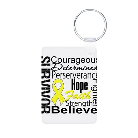 Sarcoma Survivor Collage Aluminum Photo Keychain