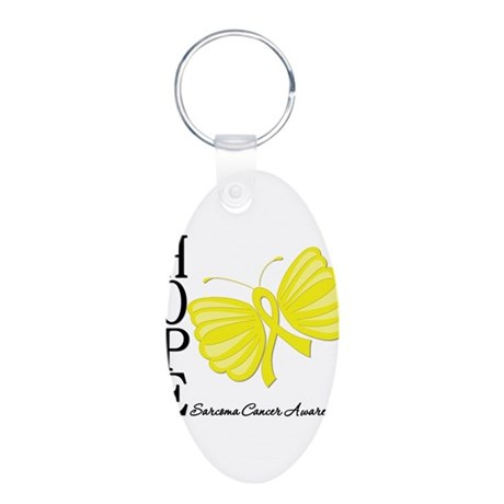Hope Butterfly Sarcoma Aluminum Oval Keychain
