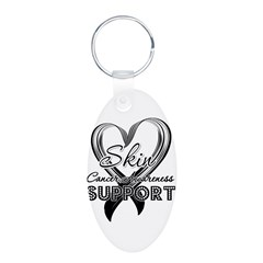 Skin Cancer Support Aluminum Oval Keychain