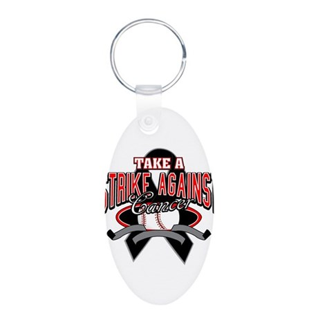 Take a Strike Skin Cancer Aluminum Oval Keychain