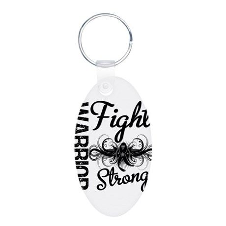 Warrior Skin Cancer Aluminum Oval Keychain