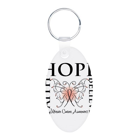 Hope Believe Uterine Cancer Aluminum Oval Keychain