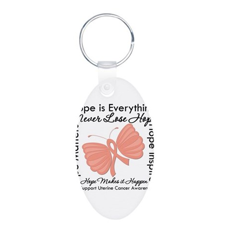 Hope - Uterine Cancer Aluminum Oval Keychain