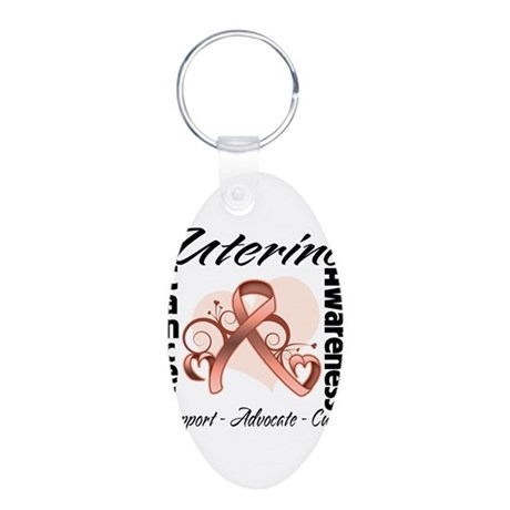 Uterine Cancer Awareness Aluminum Oval Keychain