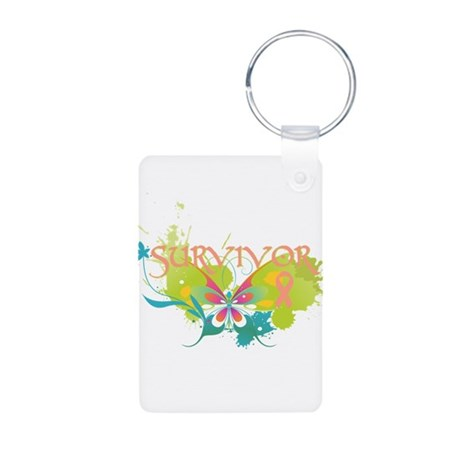 Butterfly Uterine Cancer Aluminum Photo Keychain